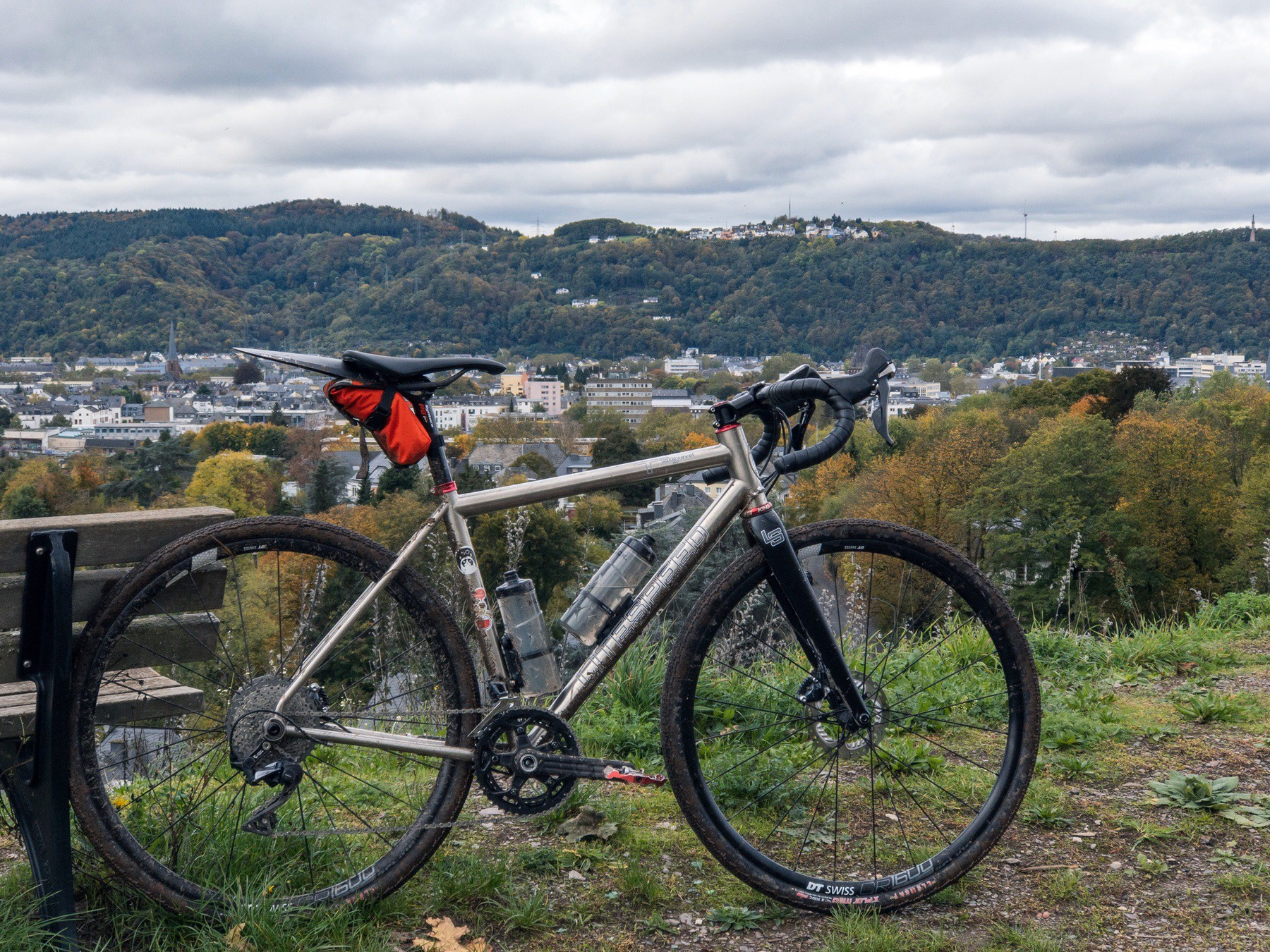 "My gravel bike ""Battle Cat"" in front of Trier's city scape"