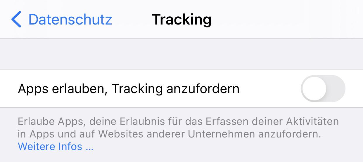 Bildschirmfoto eines Dialogs in den Datenschutzeinstellungen in iOS 14.5. Die Einstellung Apps zu erlauben zu fragen, ob ich getrackt werden darf ist deaktiviert.