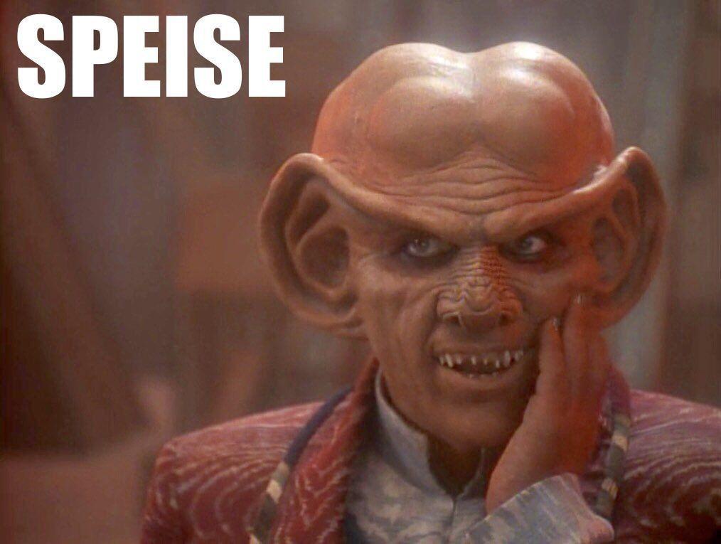 Das Wort SPEISE auf einem Bild mit der Figur QUARK aus Star Trek Deep Space Nine. Also SPEISE-QUARK.