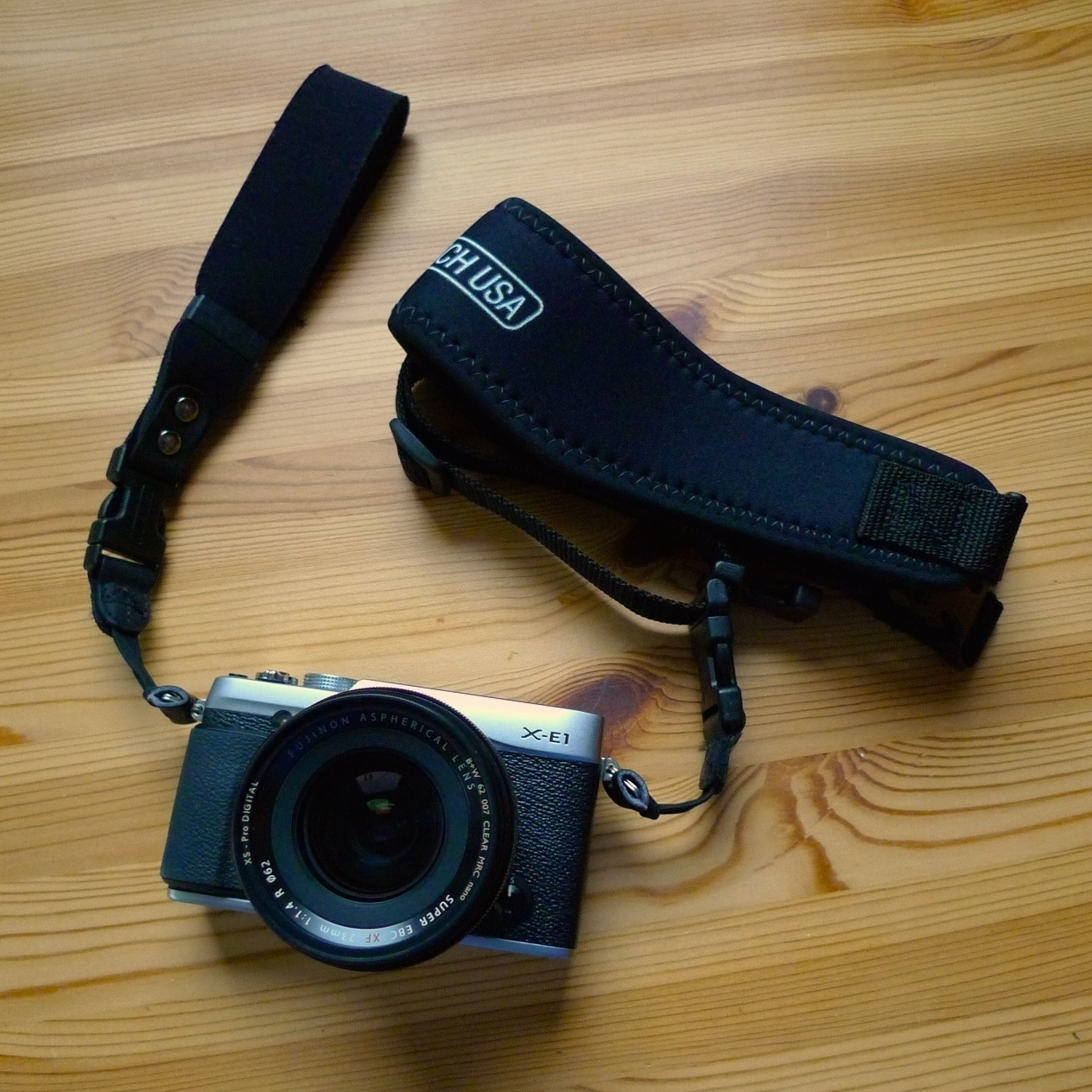 X-E1 with OP/TECH Utility Strap and SLR Wrist Strap