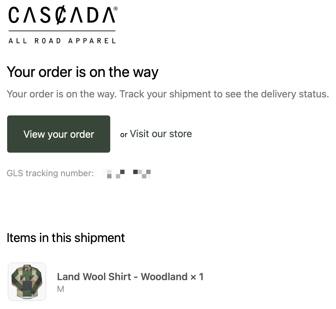 Screenshot of shipping confirmation for a button down, long sleeve shirt made for cycling by the Italian brand Cascada.